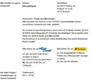 Postbank Schufa