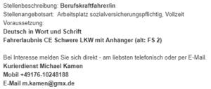 Stellenangebot: Berufskraftfahrer in Münster beim Kurierdienst